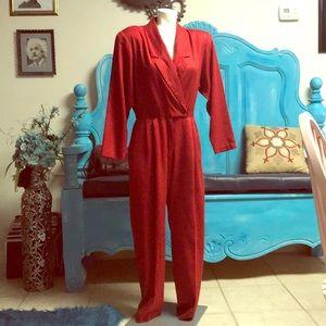 Vintage 80's Joan Walters red jumpsuit